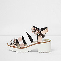Girls pink multi strap embellished sandals