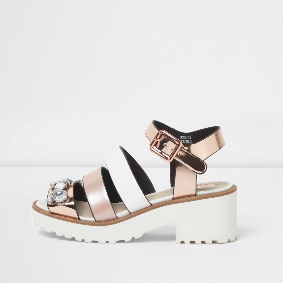 Girls pink multi strap embellished sandals