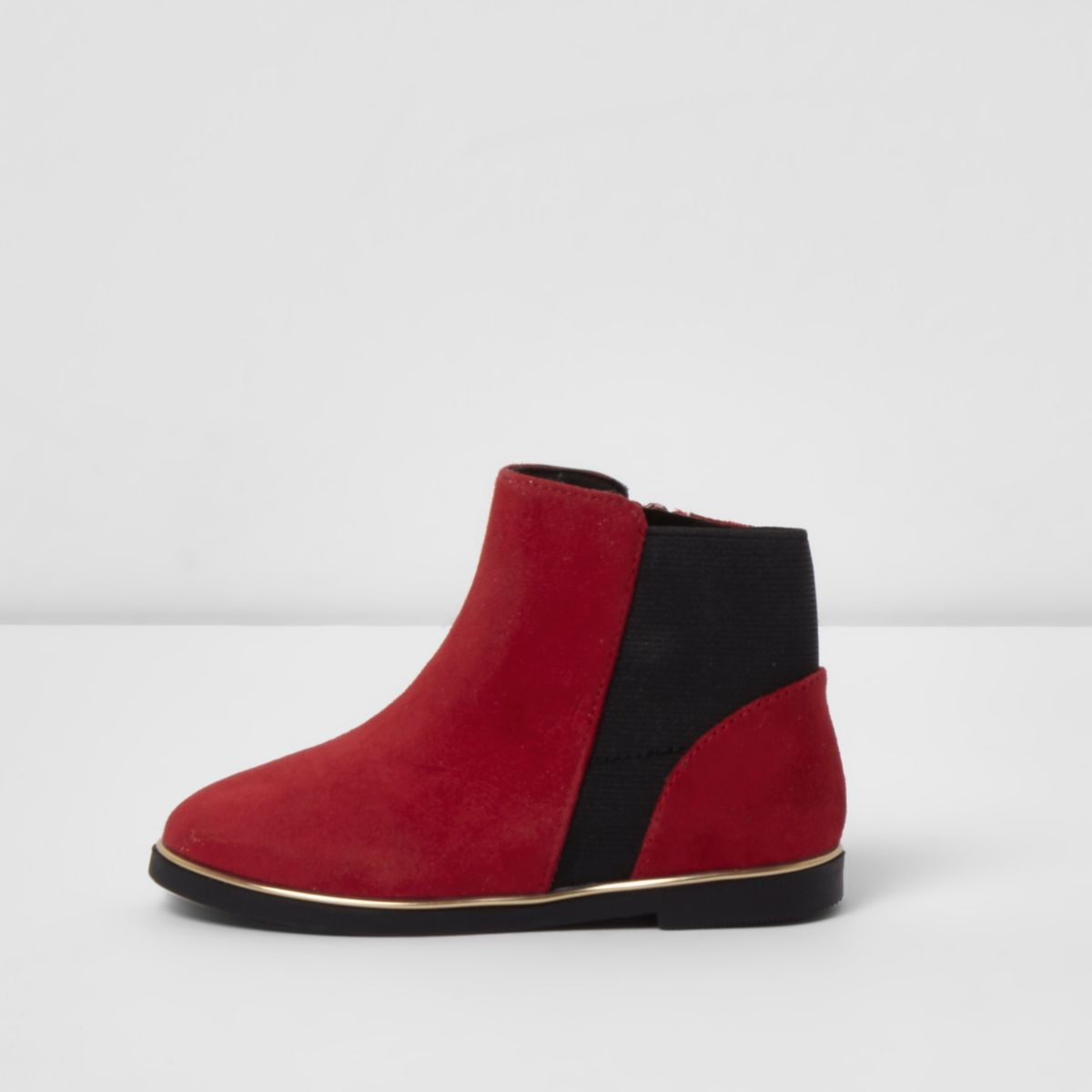 Mini girls red faux suede ankle boots
