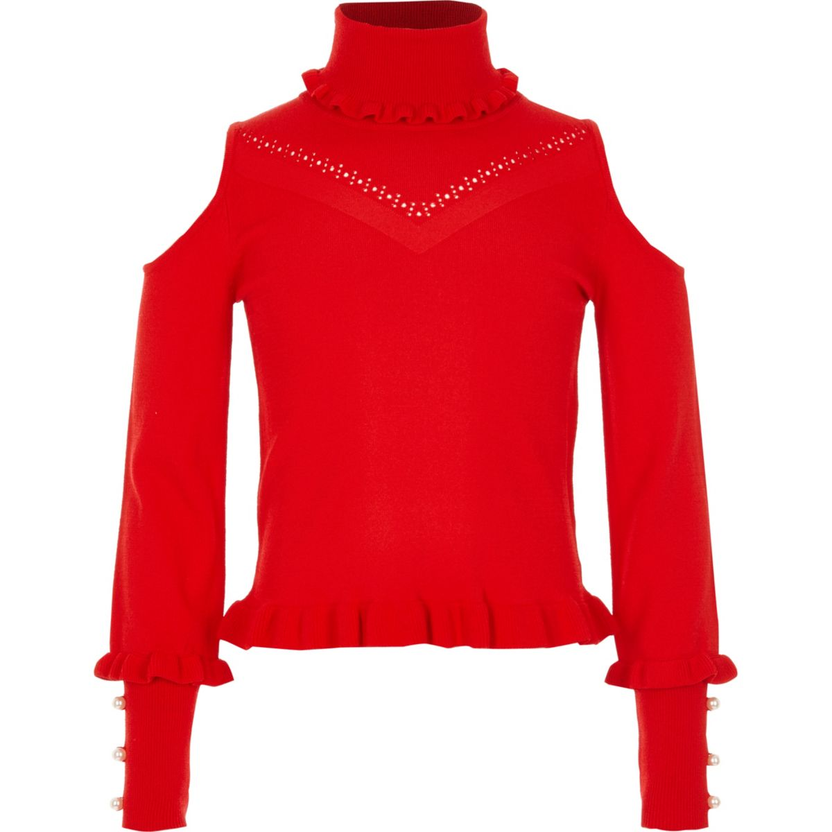 Girls red cold shoulder pearl sleeve jumper
