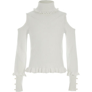 Girls cream roll neck cold shoulder jumper