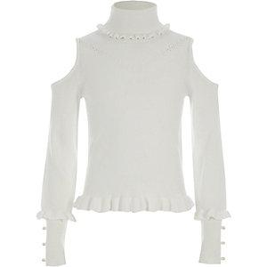 Girls cream roll neck cold shoulder sweater