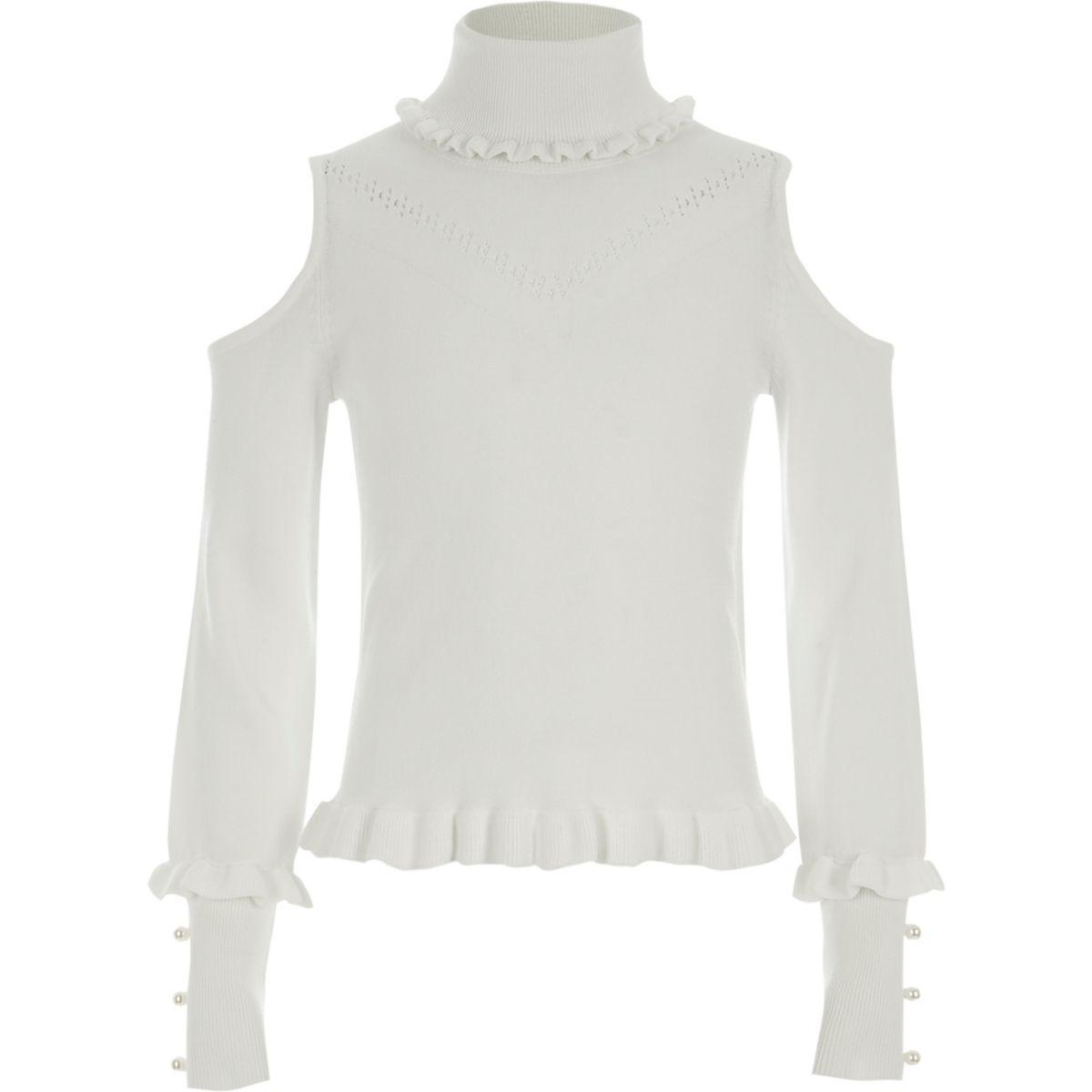 Girls cream roll neck cold shoulder jumper