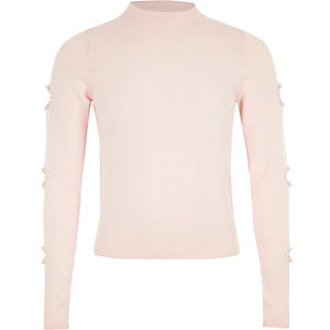 Girls light pink pearl cut out sleeve jumper
