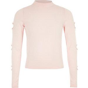 Lichtroze pullover met parels en uitsneden in de mouwen voor meisjes