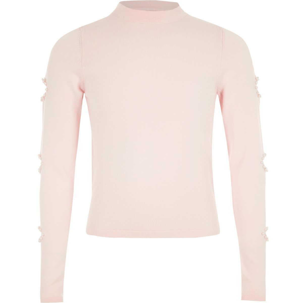 Girls light pink pearl cut out sleeve sweater