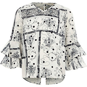 Girls white mono scarf print bell sleeve top