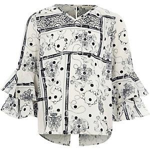 Zwart-witte top met klokmouwen en sjaalprint voor meisjes