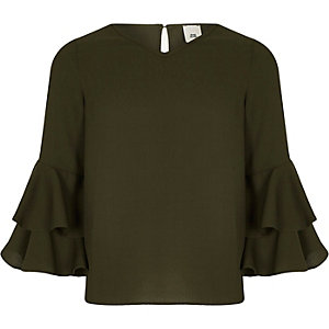 Girls khaki green ruffle sleeve top
