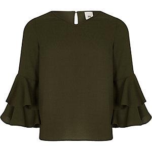 Girls khaki green ruffle sleeve top