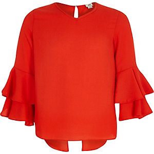 Girls red ruffle bell sleeve split back top