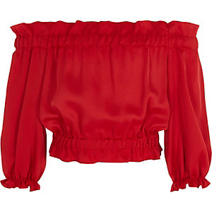 Girls red satin bardot top