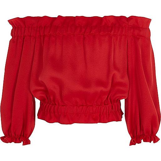 Girls red satin bardot top