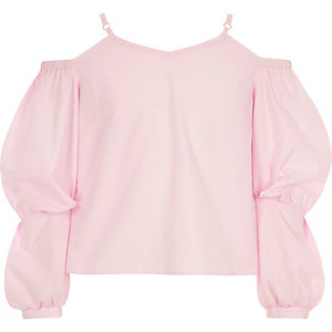 Girls pink bardot puff sleeve top