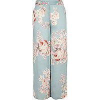 Girls blue floral print palazzo trousers
