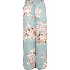 Pantalon palazzo imprimé fleuri bleu pour fille