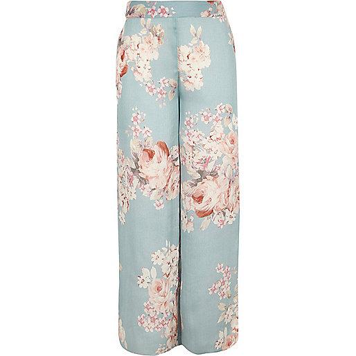Girls blue floral print palazzo pants