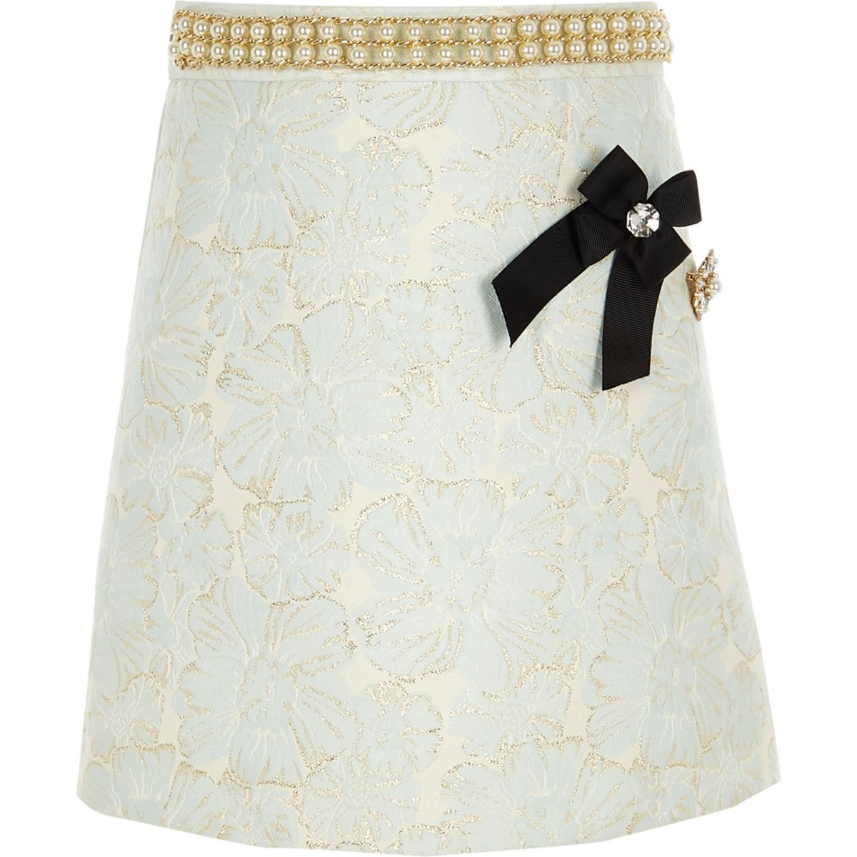 Girls blue jacquard brooch A line skirt