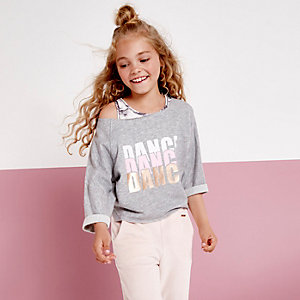 Girls RI active grey 'dance' sweatshirt