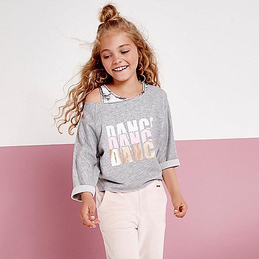 Girls RI active grey 'dance' sweatshirt
