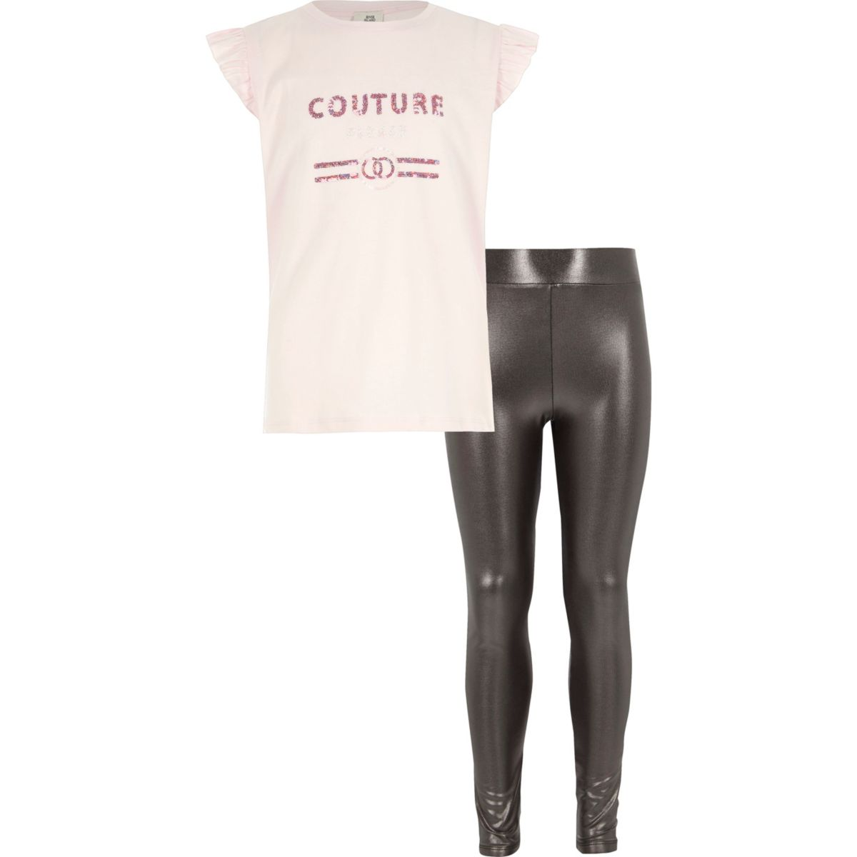 Girls pink top and metallic leggings outfit