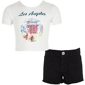 Outfit met wit T-shirt met 'surf'-print en short voor meisjes