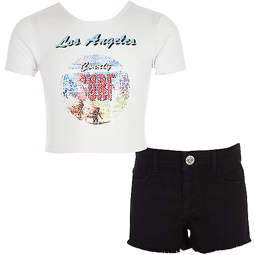 Girls white 'surf' T-shirt and shorts outfit