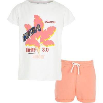 Outfit met wit T-shirt met Cuba'-print en short voor meisjes