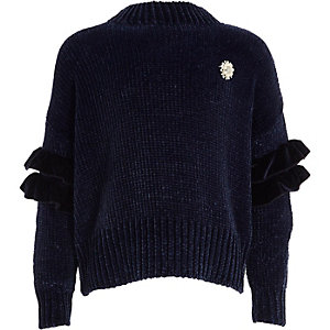 Girls navy pearl brooch frill chenille sweater