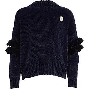 Marineblauwe chenille pullover met ruches en broche met parels voor meisjes