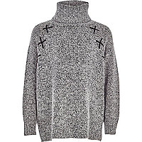 Girls grey roll neck cross detail jumper