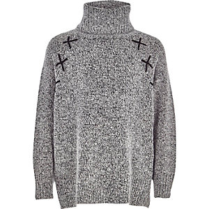 Girls grey roll neck cross detail sweater
