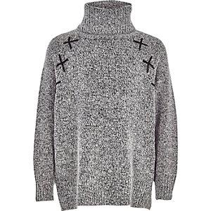 Grijze pullover met col en kruisdetail voor meisjes