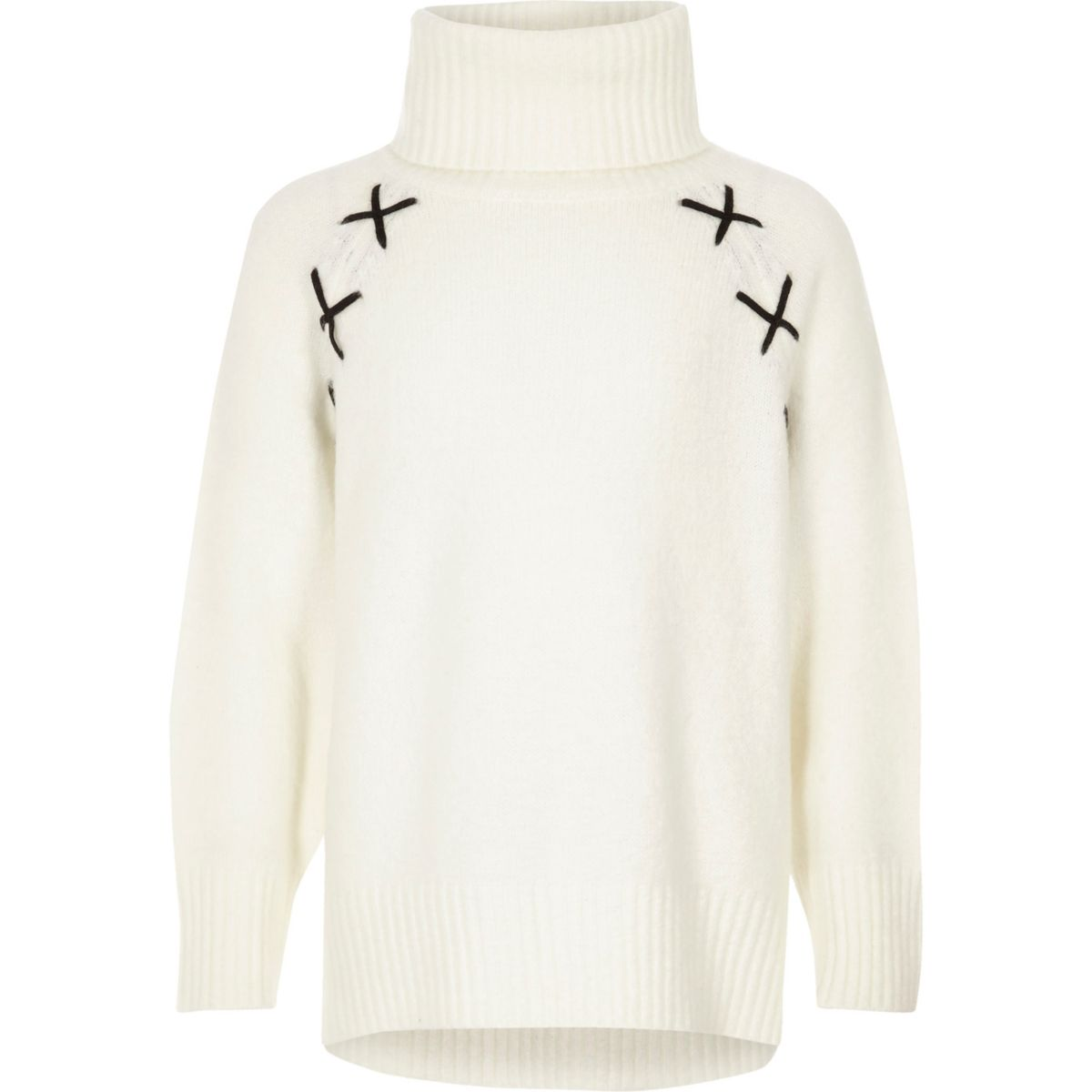 Girls cream roll neck cross detail sweater