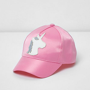Mini girls pink satin unicorn cap