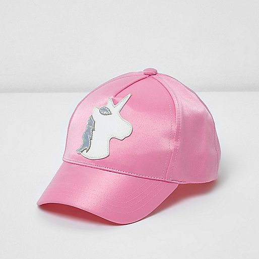 Mini girls pink satin unicorn cap