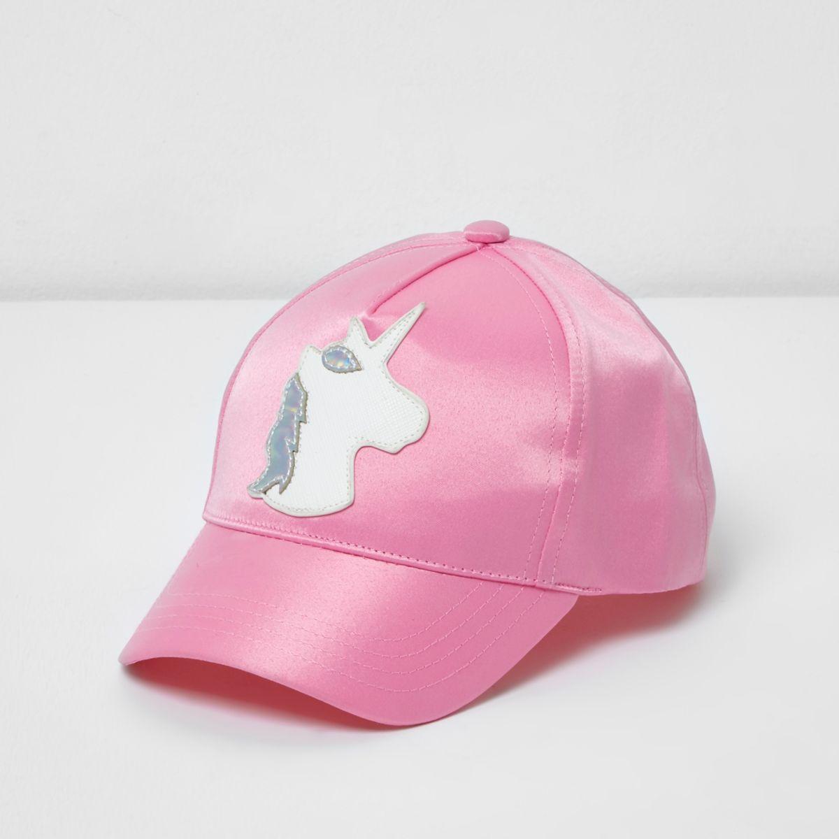 Casquette motif licorne en satin rose mini fille