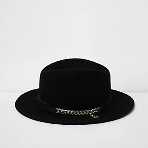 RI Studio – Chapeau fedora noir avec galon chaîne pour fille
