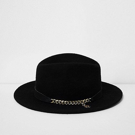 Girls black RI Studio chain trim fedora hat