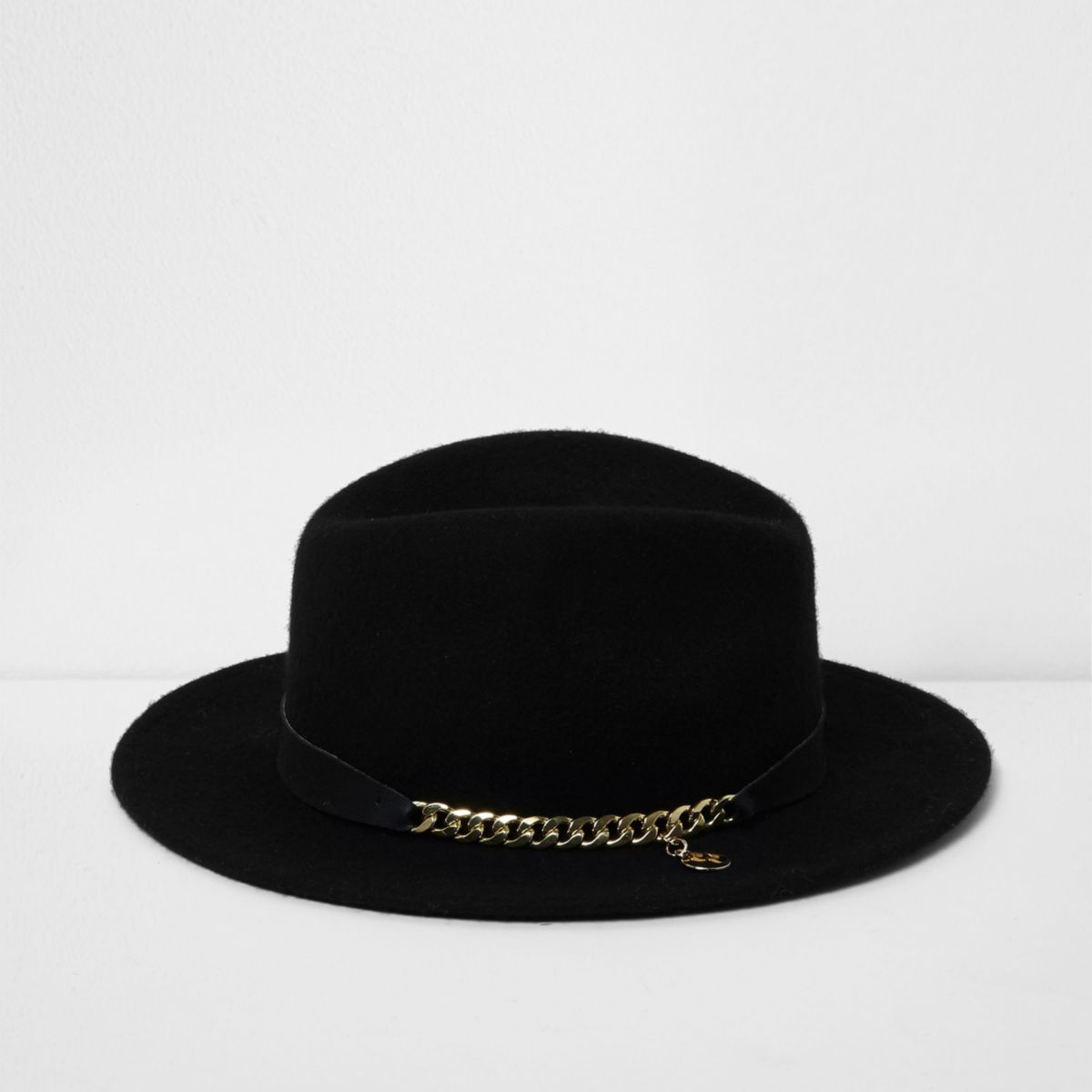 Girls black RI Studio chain trim fedora hat