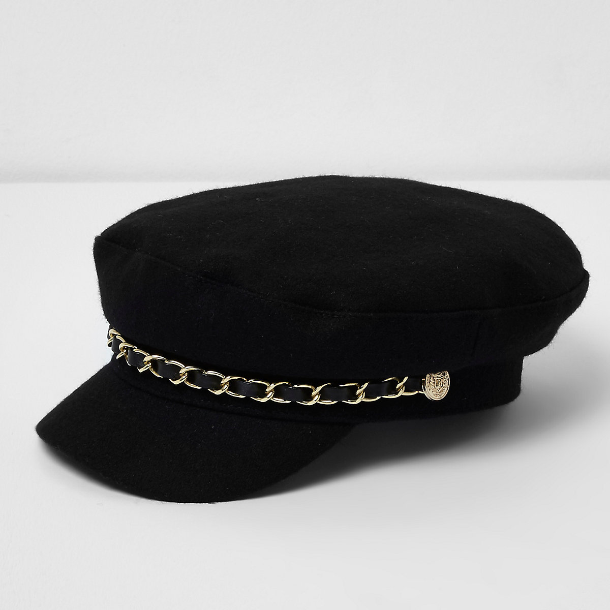 Girls black chain trim baker boy hat