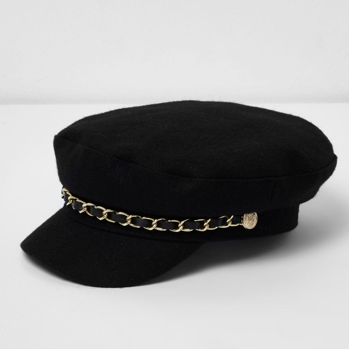Girls black chain trim baker boy hat