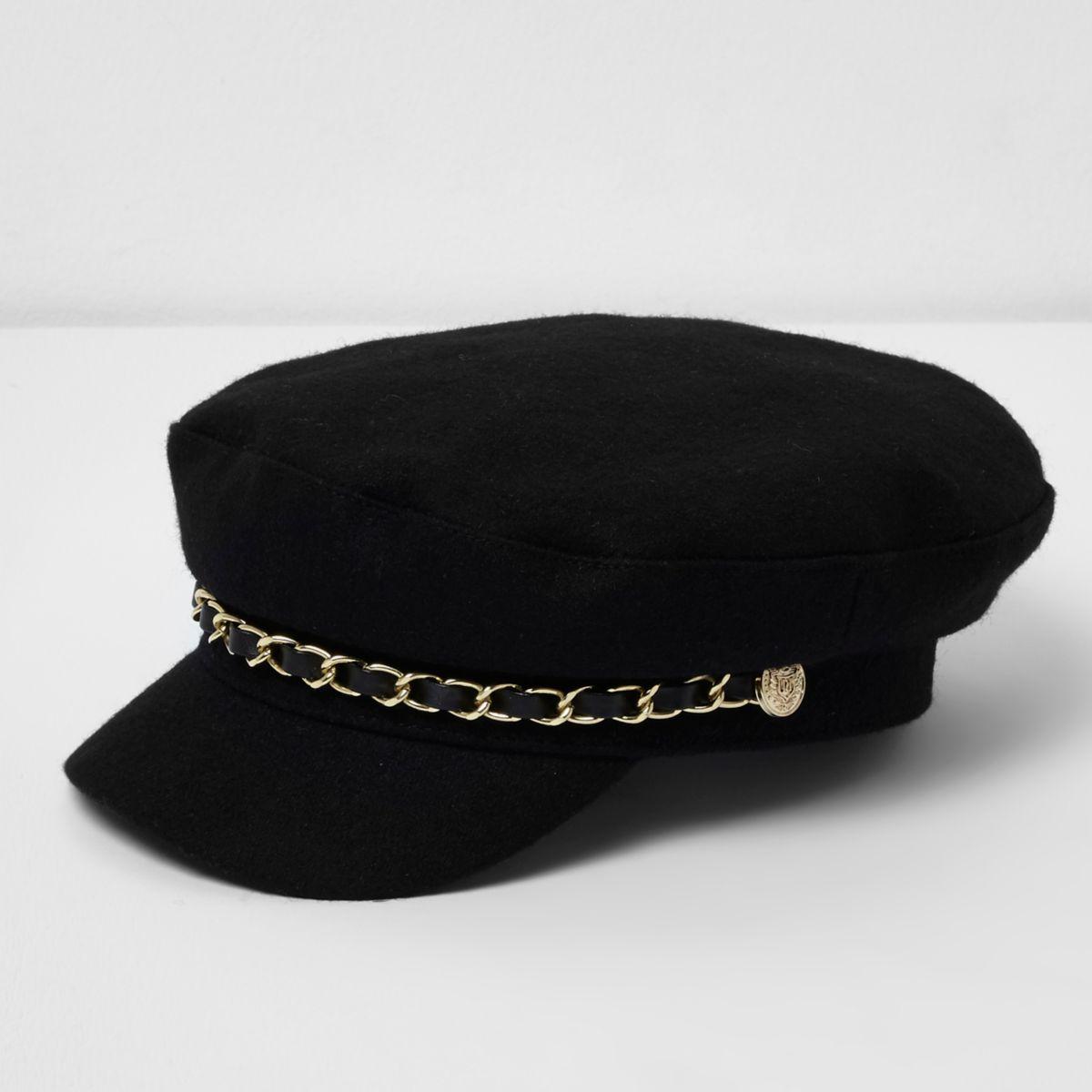 Casquette gavroche noire avec bordure chaîne pour fille