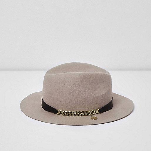 Girls pink RI Studio chain trim fedora hat