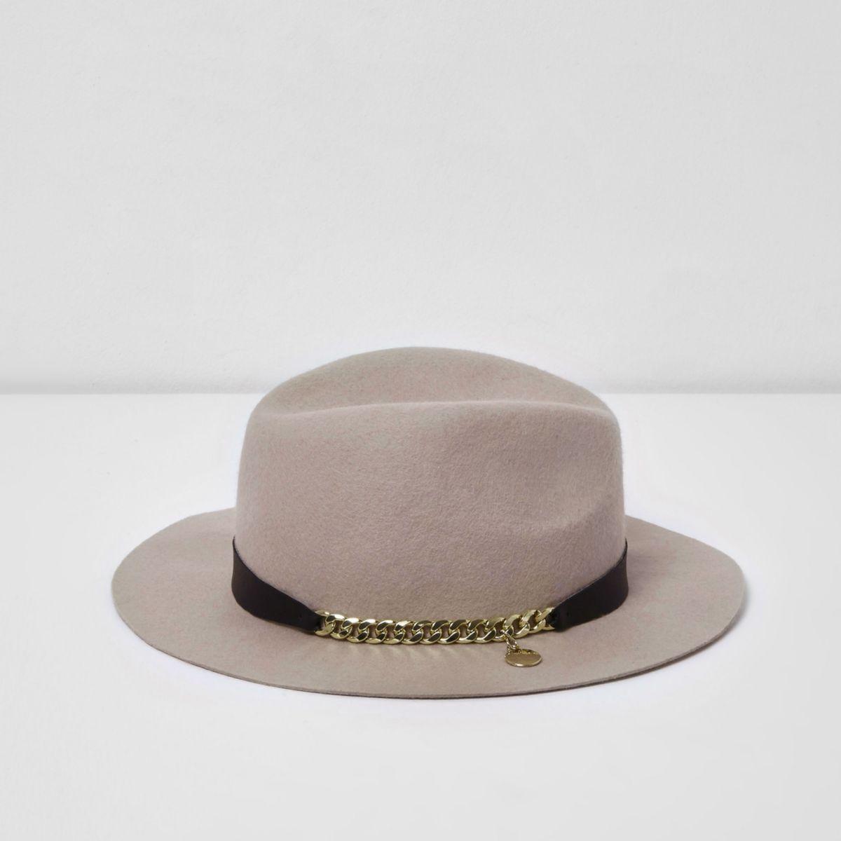 RI Studio – Chapeau fedora rose avec galon chaîne pour fille
