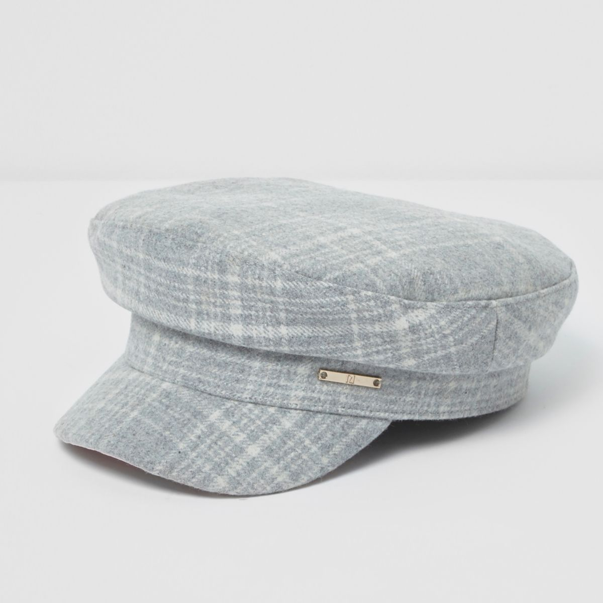 Girls grey check captain's hat