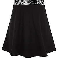 Girls black RI waistband skater skirt