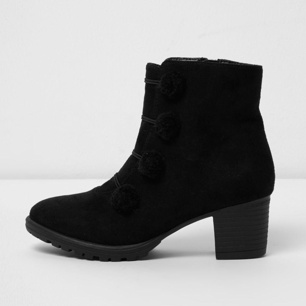 Girls black military style pom pom boots