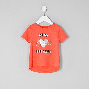 Mini girls red 'heartbreaker' printed T-shirt