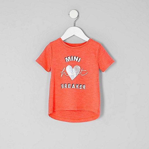 Mini girls red 'heartbreaker' printed T-shirt